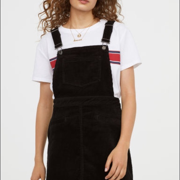 4228b0f09 H&M Dresses | Hm Black Corduroy Overall Dress | Poshmark